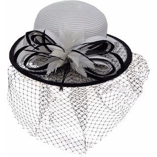 Hatch Women's Netting Wide Brim Paper Braid Wedding Dress Hat
