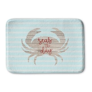 Kavka Designs Blue/Tan/Red Seas Day Memory Foam Bath Mat