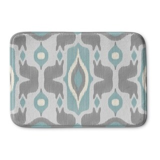 Kavka Designs Ivory/Turquoise/Grey Cosmos Blue Memory Foam Bath Mat