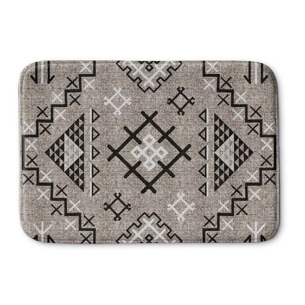 Kavka Designs Beige/Black Aztec Black Memory Foam Bath Mat