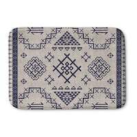 Kavka Designs Beige/Blue Aztec Light Blue Memory Foam Bath Mat