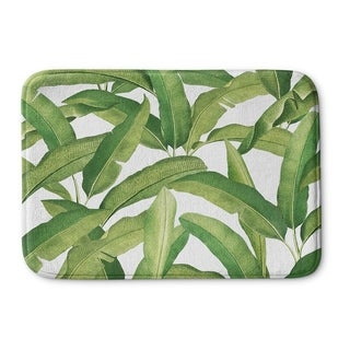 Kavka Designs Green Banana Leaves Memory Foam Bath Mat