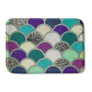 Kavka Designs Blue/Green/Pink/Grey Mermaid Scales Memory Foam Bath Mat
