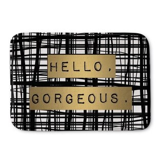 Kavka Designs Black/White/Gold Hello Gorgeous Memory Foam Bath Mat