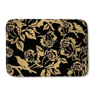 Kavka Designs Gold/Black Gold Metallic Garden On Black Memory Foam Bath Mat