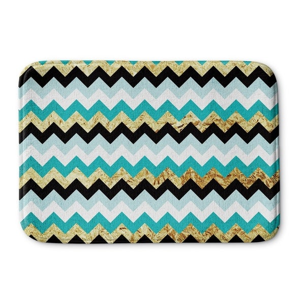 Kavka Designs Blue/Gold/Black Teal Metallic Chevron Memory Foam Bath Mat
