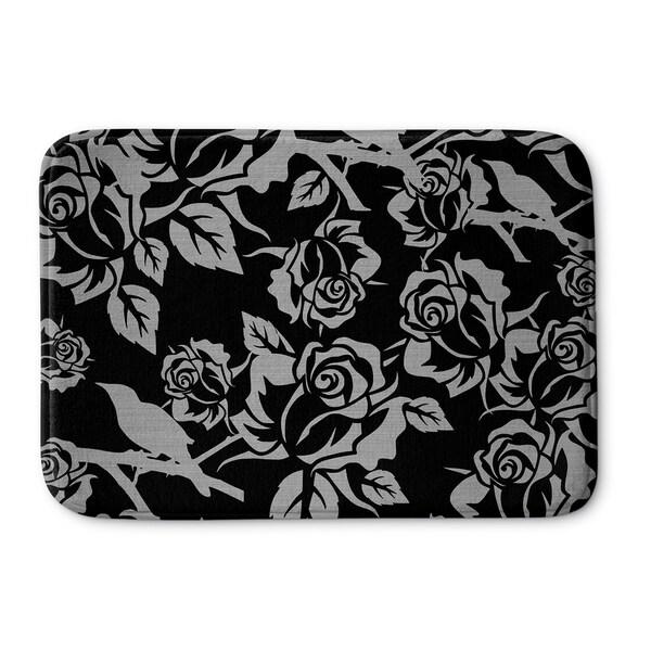 Kavka Designs Grey/Black Silver Metallic Garden On Black Memory Foam Bath Mat