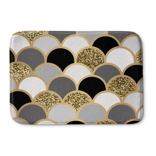 Kavka Designs Black/Grey/Gold/White Scales Memory Foam Bath Mat