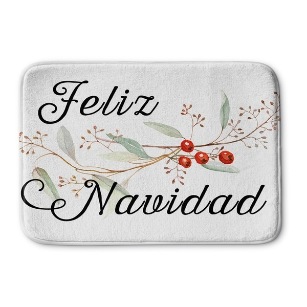 Kavka Designs Black/Red/Brown Feliz Navidad Memory Foam Bath Mat