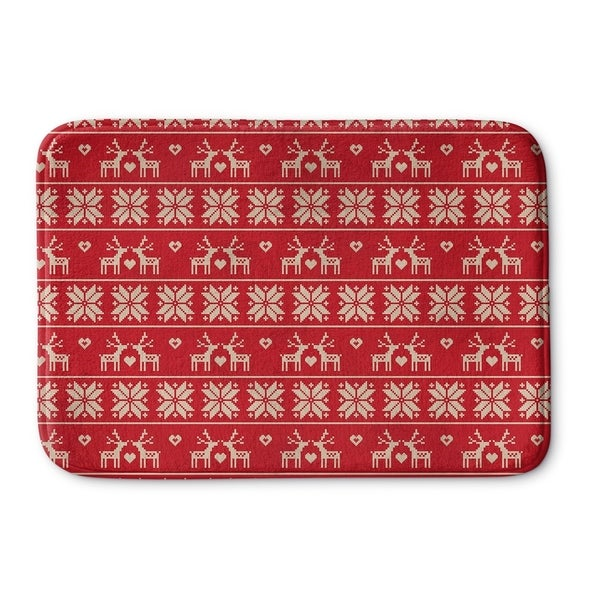 Kavka Designs Red/Beige Christmas Love Memory Foam Bath Mat