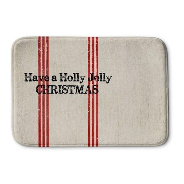 Kavka Designs Ivory/Red/Black Holly Jolly Christmas Memory Foam Bath Mat