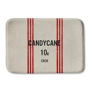 Kavka Designs Ivory/Red/Black Candy Cane Memory Foam Bath Mat