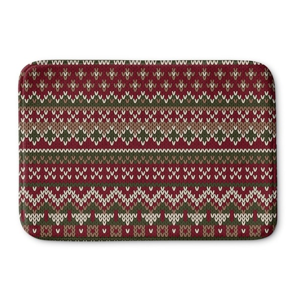 Kavka Designs Red/Green/Beige Christmas Memory Foam Bath Mat