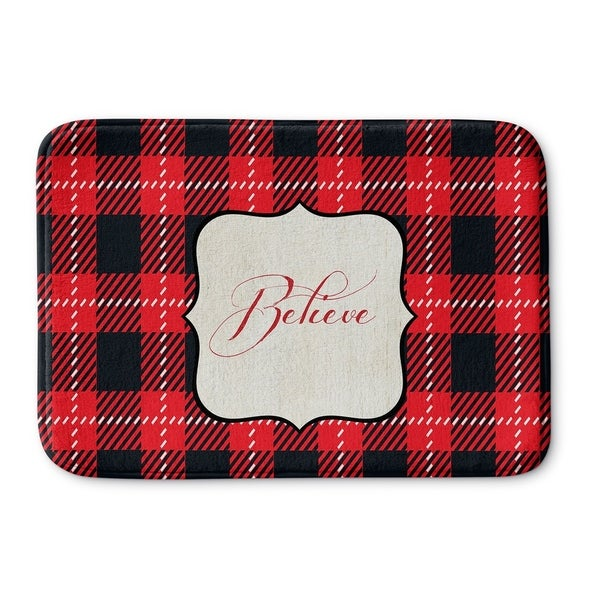 Kavka Designs Red/Black/Cream Believe Memory Foam Bath Mat