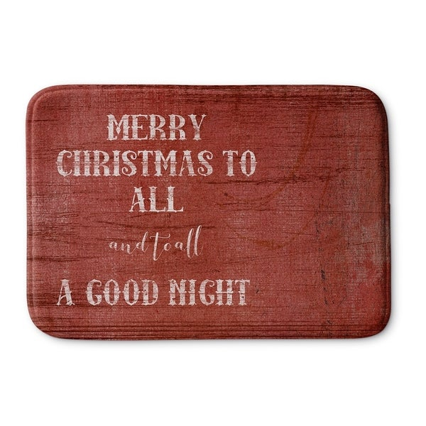 Kavka Designs Red/Ivory Merry Christmas To All Memory Foam Bath Mat