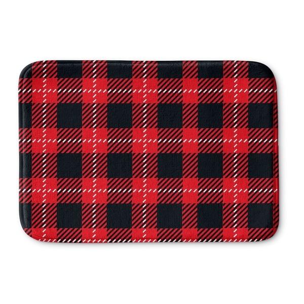 Kavka Designs Red/Black Christmas In Plaid Memory Foam Bath Mat