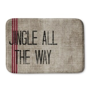 Kavka Designs Burlap/Red/Black Jingle All The Way Memory Foam Bath Mat