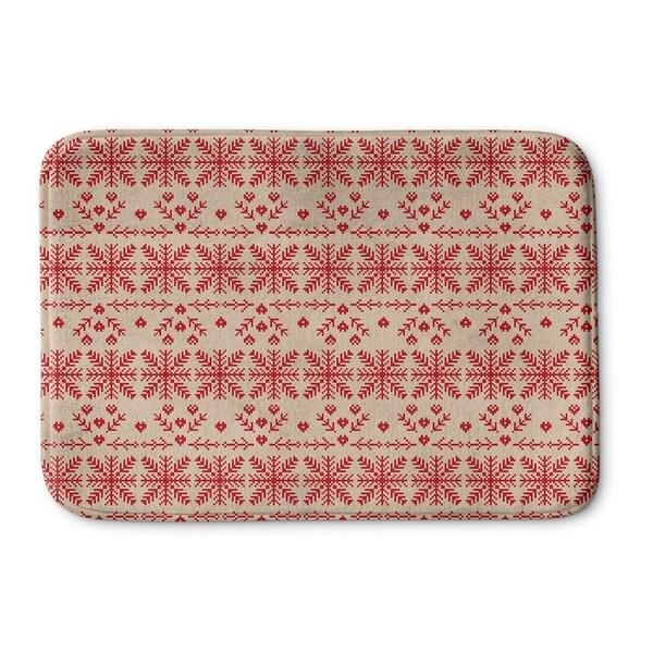 Kavka Designs Red/Beige Christmas In Red Memory Foam Bath Mat
