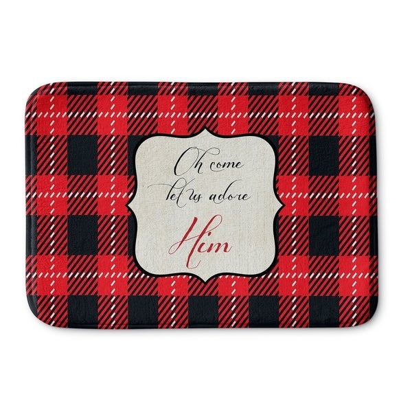 Kavka Designs Red/Black/Cream Adore Him Memory Foam Bath Mat