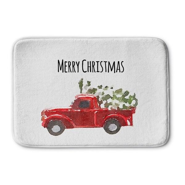 Kavka Designs Red/Green/Black Christmas Truck Memory Foam Bath Mat