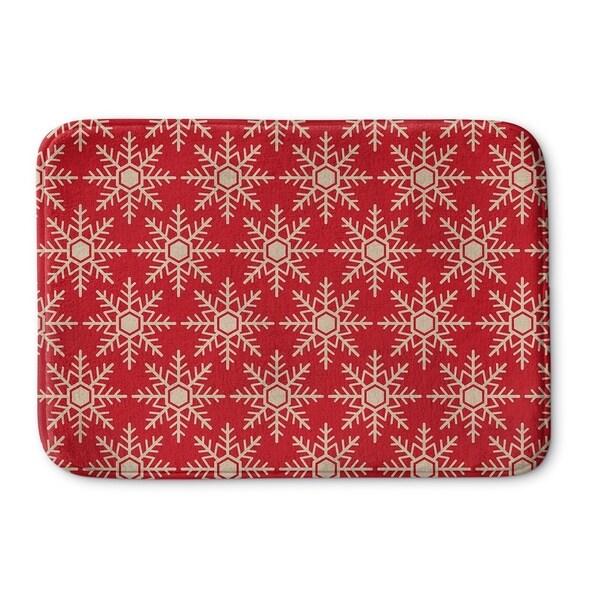Kavka Designs Red/Ivory Snow Flakes Memory Foam Bath Mat