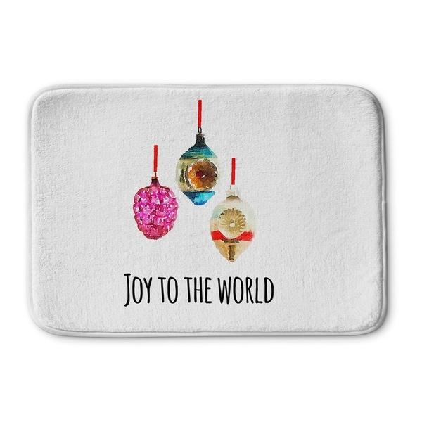 Kavka Designs Purple/Blue/Red/White/Pink Joy To The World Memory Foam Bath Mat