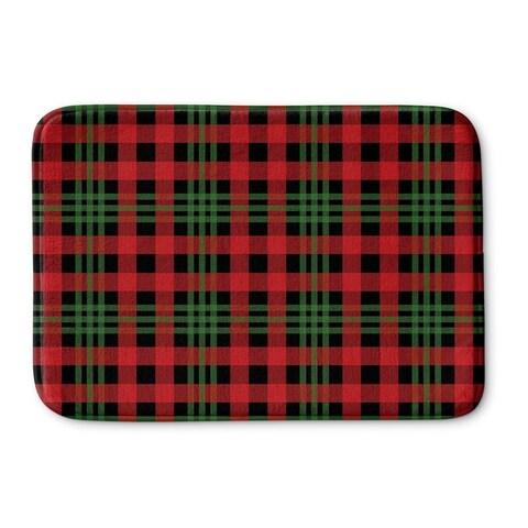 Kavka Designs Red/Black/Green Christmas Plaid Memory Foam Bath Mat