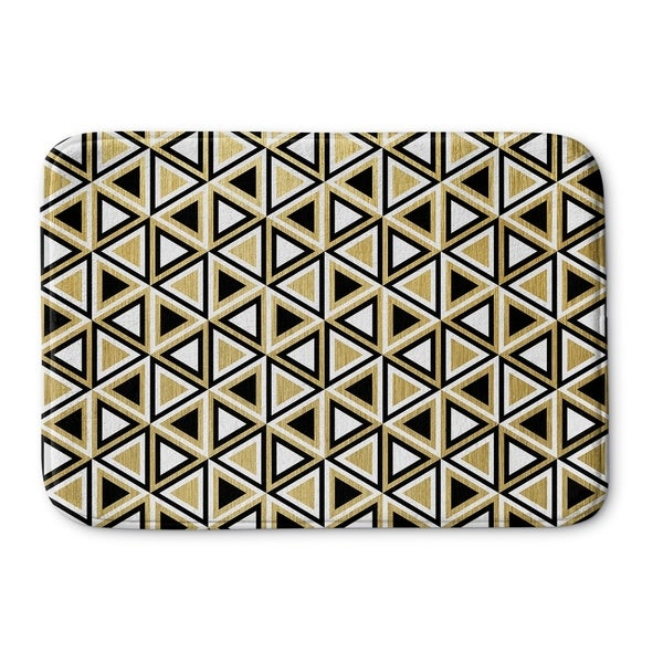 Kavka Designs Gold Gold Black And White Memory Foam Bath Mat