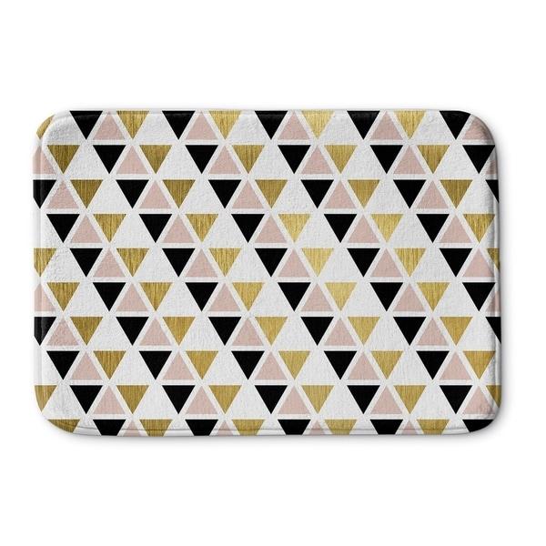Kavka Designs Black/White/Gold Gold Black Pink And White Memory Foam Bath Mat