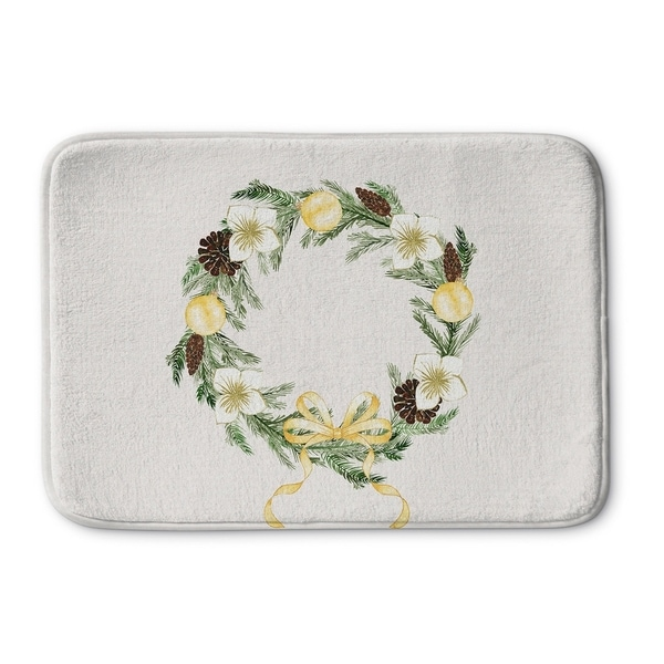 Kavka Designs Ivory/Green/Yellow Christmas Reef Memory Foam Bath Mat
