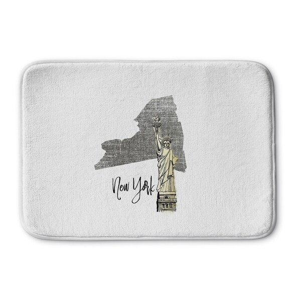 Kavka Designs Grey/Gold/White New York Memory Foam Bath Mat
