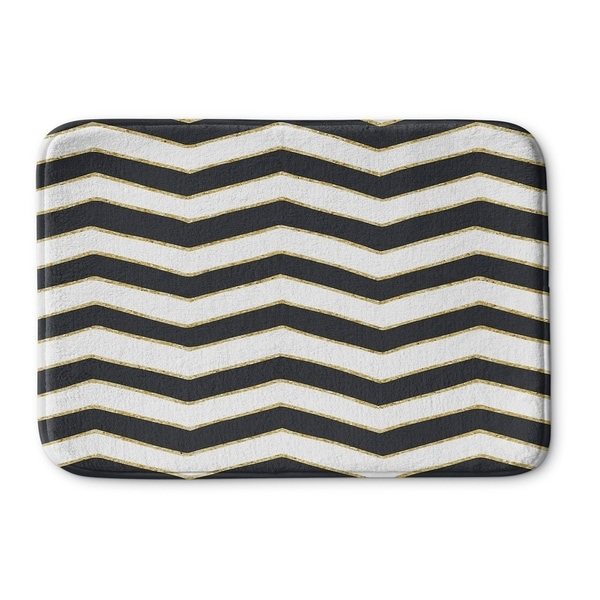 Kavka Designs Black/White/Gold Chevron Memory Foam Bath Mat