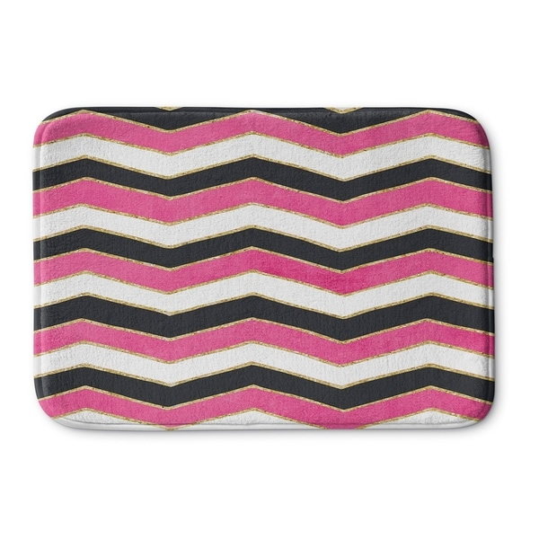 Kavka Designs Pink/Black/White Chevron White Pink Black Memory Foam Bath Mat