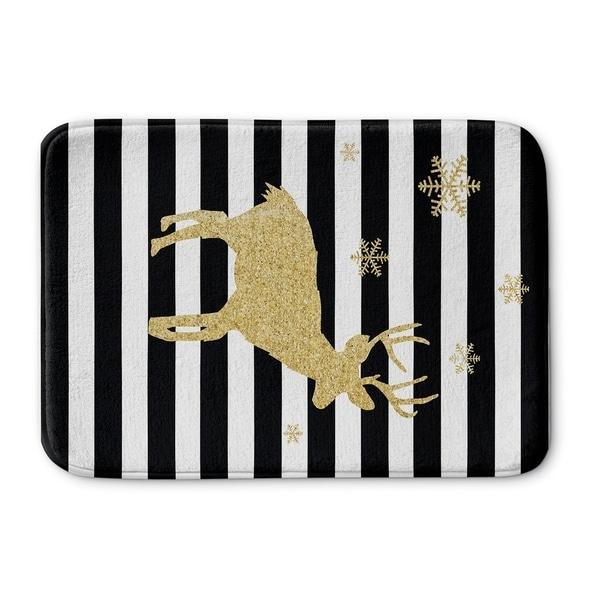 Kavka Designs Black/White/Gold Snow Deer Memory Foam Bath Mat