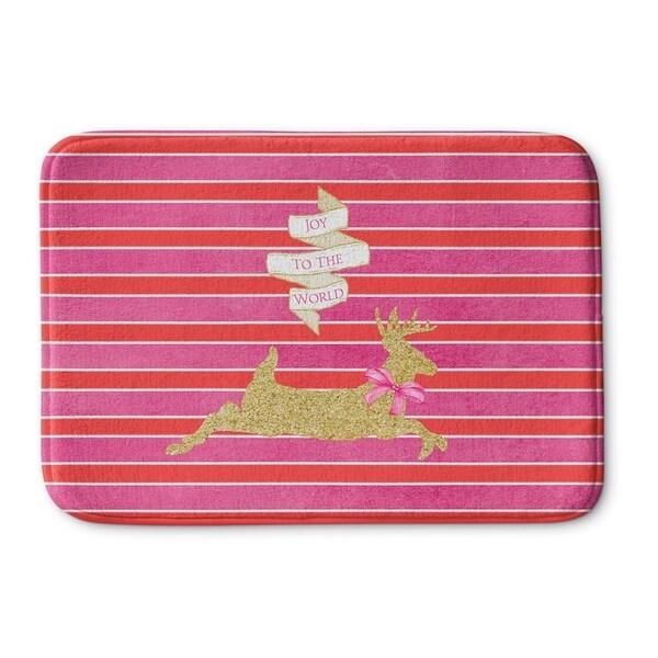 Kavka Designs Pink/Red/Gold Deer Joy Memory Foam Bath Mat