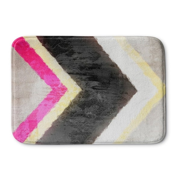 Kavka Designs Yellow/White/Black/Pink Arrow Memory Foam Bath Mat