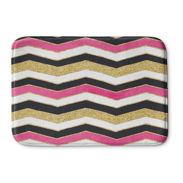 Kavka Designs Pink/Gold/Black/White Chevron White Pink Black Gold Memory Foam Bath Mat