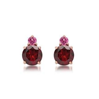 Marabela 10k Gold Tonal Gemstone Stud Earrings
