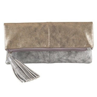 Metallic Design Tassel Foldover Evening Clutch Bag