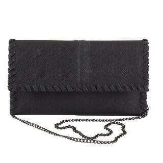 Textured Design Vegan Faux Leather Chain Crossbody Clutch Bag