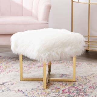 Abbyson Evelyn White Faux Fur Stainless Steel Stool