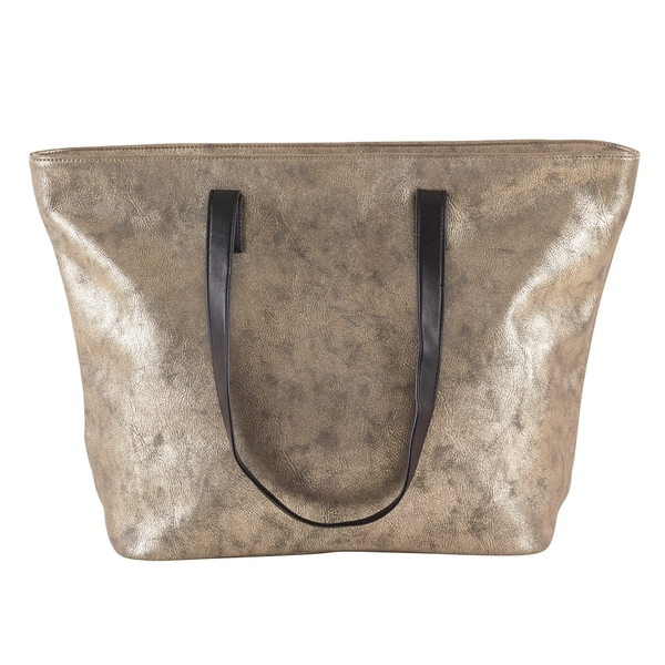 8dda5561aa402 Shop Metallic Shimmer Design Faux Leather Large Tote Bag - Free ...