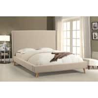 Abbyson Bartlett Ivory Mid-Century Upholstered Platform Bed