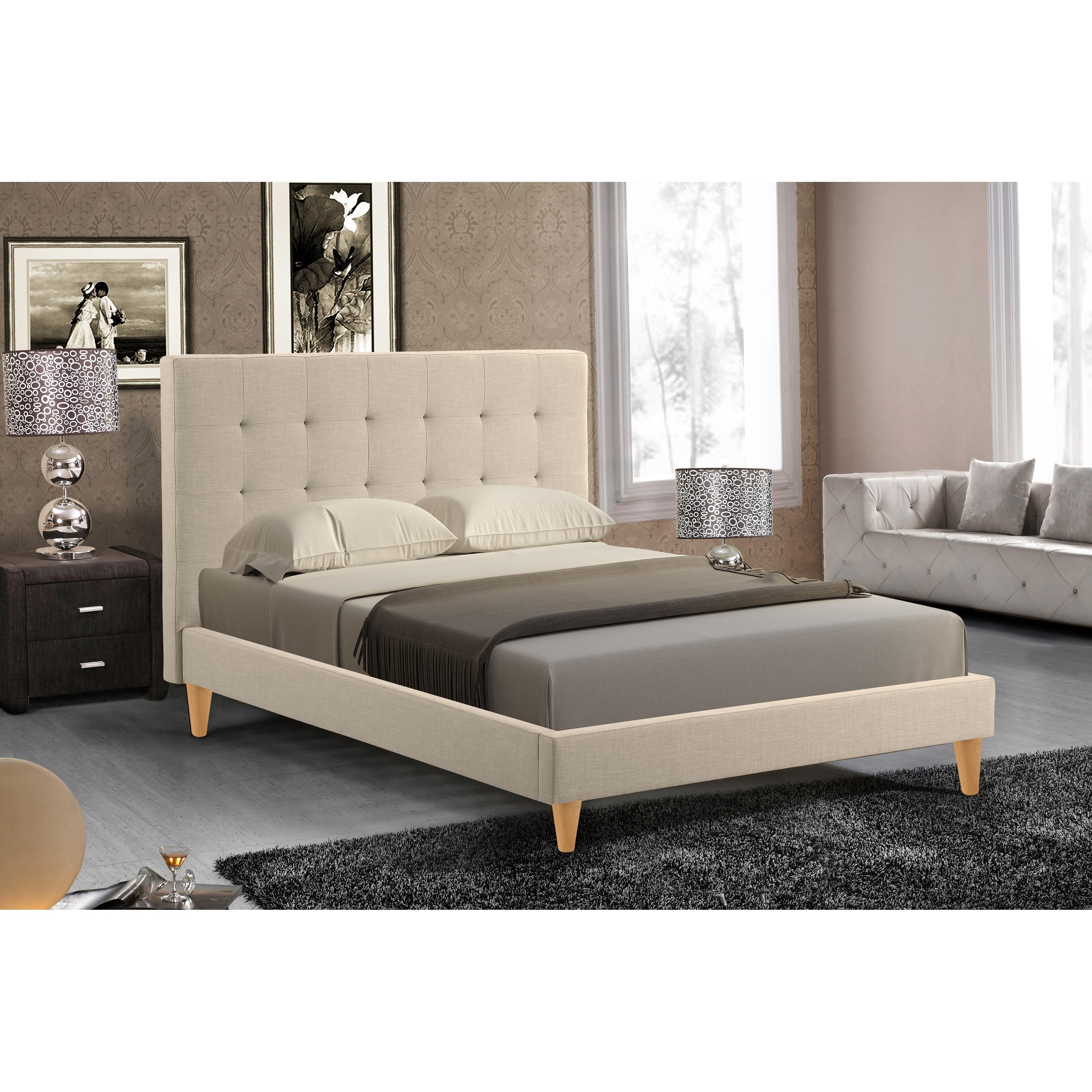 Abbyson Brennan Ivory Tufted Platform Bed (King), Black