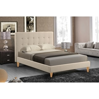 Abbyson Brennan Ivory Tufted Oak Platform Bed