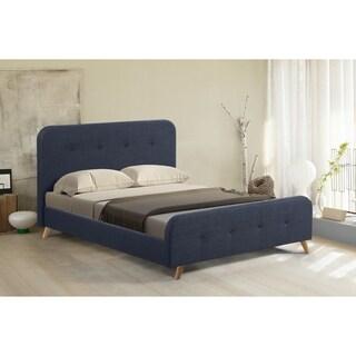Abbyson Corbett Blue Mid Century Upholstered Platform Bed