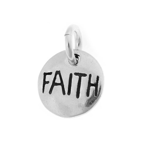 Sterling Silver Round Faith Charm