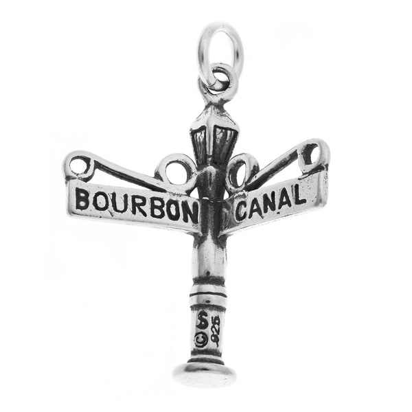 Sterling Silver Bourbon and Canal Street Sign Charm. Opens flyout.