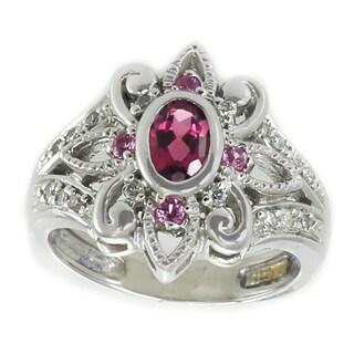 Michael Valitutti 14K White Gold Pink Tourmaline, Pink Sapphire & Diamond Ring