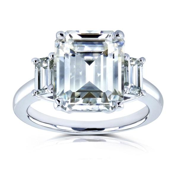 Annello by Kobelli 14k White Gold 5 1/2 Carat TGW Three Stone Emerald Cut Moissanite Statement Engagement Ring. Opens flyout.